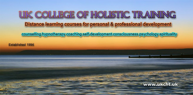 UKCHT banner - distance learning courses for personal & professional development - with background of beach scene with jetty at sunrise